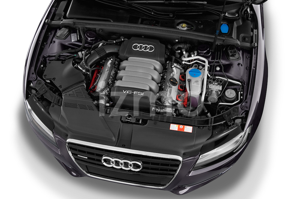 High angle engine detail of a 2009 - 2011 Audi A5 Ambition Luxe Sportback 5-Door Hatchback.