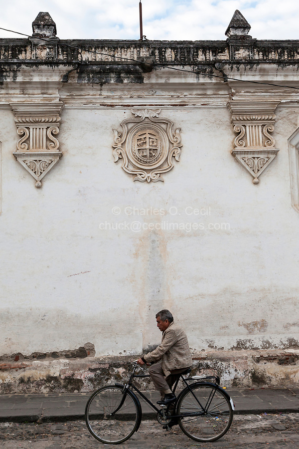 Antigua, Guatemala.  Coat of Arms on Wall of the University of San Carlos, Founded in 1675.