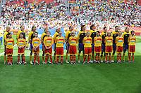 Fifa Women's World Cup Germany 2011 : Colombia - Sweden at Bayarena Leverkusen : Zweden tijdens het volkslied / hymne..foto DAVID CATRY / Vrouwenteam.be