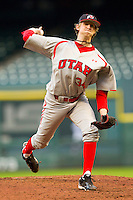 Tyler Wagner #34 of the Utah Utes in action against the Texas A&M Aggies at Minute Maid Park on March 4, 2011 in Houston, Texas.  Photo by Brian Westerholt / Four Seam Images