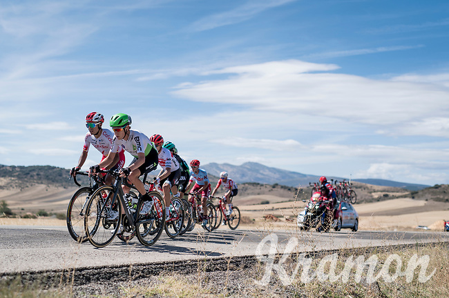 With strong crosswinds, the peleton fractures into many (9 through the feedzone) pockets of riders and makes for fierce racing form start to finish at a (very) high average speed (50.63 km/h)<br /> Louis Meintjes (ZAF/Dimension Data) driving this group.<br /> <br /> Stage 17: Aranda de Duero to Guadalajara (220km)<br /> La Vuelta 2019<br /> <br /> ©kramon