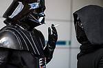 © Joel Goodman - 07973 332324. 30/07/2017 . Manchester , UK . Darth Vader takes a cigarette break outside the venue . Cosplayers, families and guests at Comic Con at the Manchester Central Convention Centre . Photo credit : Joel Goodman