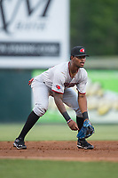 Hickory Crawdads third baseman Ti'Quan Forbes (10) on defense against the Kannapolis Intimidators at Kannapolis Intimidators Stadium on April 21, 2017 in Kannapolis, North Carolina.  (Brian Westerholt/Four Seam Images)