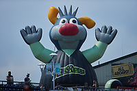 """A giant inflatable in the shape of Scranton/Wilkes-Barre RailRiders mascot """"Champ"""" rises from the concourse at PNC Field during the game against the Rochester Red Wings on July 25, 2021 in Moosic, Pennsylvania. (Brian Westerholt/Four Seam Images)"""