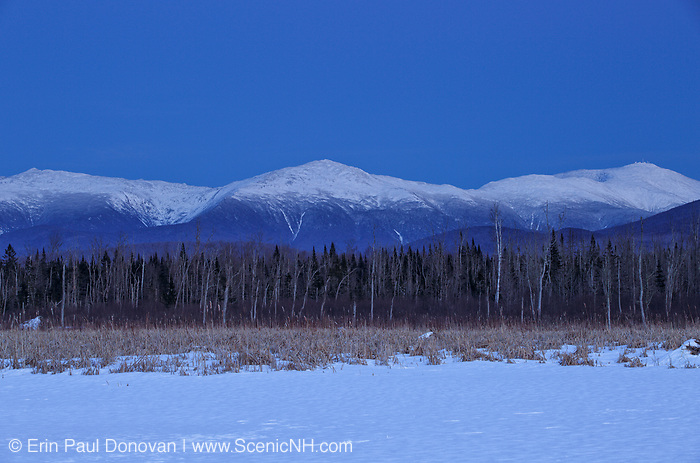 Pondicherry Wildlife Refuge - View of the Presidential Range at dusk from along the Presidential Range Rail Trail (Cohos Trail), near Cherry Pond, in Jefferson, New Hampshire.