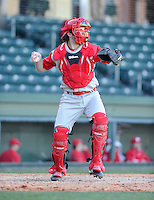 Catcher John Crummy (27) of the Miami (Ohio) Redhawks hits in a game against the Furman Paladins on Sunday, February 17, 2013, at Fluor Field at the West End in Greenville, South Carolina. Furman won, 6-5. (Tom Priddy/Four Seam Images).