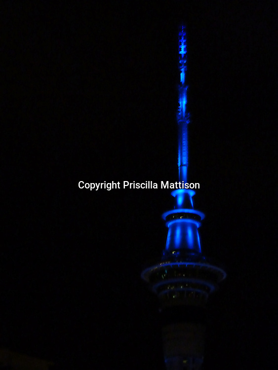 Auckland, New Zealand - September 20, 2012:  The blue lighting on the top of the Sky Tower signifies the Blues professional rugby team.