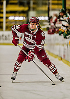 15 November 2015: University of Massachusetts Minuteman Forward Austin Plevy, a Freshman from Langley, British Columbia, in action against the University of Vermont Catamounts at Gutterson Fieldhouse in Burlington, Vermont. The Minutemen rallied from a three goal deficit to tie the game 3-3 in their Hockey East matchup. Mandatory Credit: Ed Wolfstein Photo *** RAW (NEF) Image File Available ***