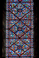 Medieval stained glass Window of the Gothic Cathedral of Chartres, France- dedicated to Joseph the Patriach . A UNESCO World Heritage Site.