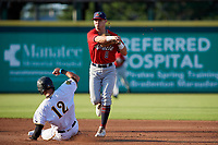 Fort Myers Miracle second baseman Michael Helman (8) throws to first base as Travis Swaggerty (12) slides in during a Florida State League game against the Bradenton Marauders on April 23, 2019 at LECOM Park in Bradenton, Florida.  Fort Myers defeated Bradenton 2-1.  (Mike Janes/Four Seam Images)