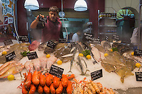 France, Calvados (14), Côte Fleurie, Trouville-sur-Mer,  la Halle aux poissons de Trouville-sur-Mer, étal de la Poissonnerie Pillet-Saiter , Sébastien Saiter //  France, Calvados, Côte Fleurie, Trouville sur Mer,  Trouville sur Mer , the fish market, fish shop Pillet-Saiter , Sébastien Saiter<br />  [Non destiné à un usage publicitaire - Not intended for an advertising use] [Non destiné à un usage publicitaire - Not intended for an advertising use]
