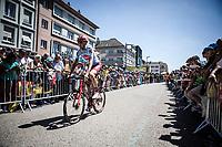 Ilnur Zakarin  (RUS/Katusha Alpecin) on his way to the pre race sign on. <br /> <br /> Stage 5: Saint-Dié-des-Vosges to Colmar (175km)<br /> 106th Tour de France 2019 (2.UWT)<br /> <br /> ©kramon