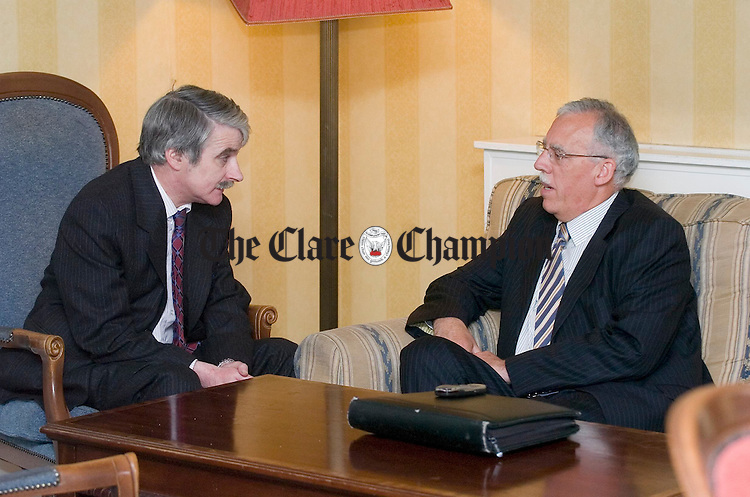 TD's Willie O Dea and  Tony Killeen chat befoe their meeting with Aer Lingus CEO Dermot Mannion on Friday at Shanon. Photograph by John Kelly.