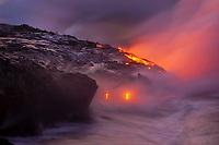 Sunrise, Black sand beach, Waikupanaha ocean entry, Kilauea volcano, East of Hawaii, USA Volcanoes National Park, The Big Island of Hawaii, USA