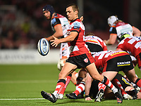 24th September 2021;  Kingsholm Stadium, Gloucester, England; Gallaher Premiership Rugby, Gloucester Rugby versus Leicester Tigers: Ben Meehan of Gloucester kicks from the base of the ruck