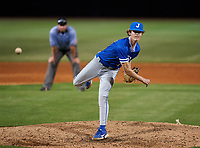 Jesuit Tigers pitcher Drew Hunt (19) during a game against the IMG Academy Ascenders on April 21, 2021 at IMG Academy in Bradenton, Florida.  (Mike Janes/Four Seam Images)