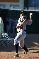 Kyle Lloyd (35) of the Lake Elsinore Storm throws in the bullpen before pitching in a game against the Lancaster JetHawks at The Hanger on August 29, 2015 in Lancaster, California. Lancaster defeated Lake Elsinore 7-4. (Larry Goren/Four Seam Images)