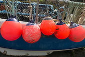 Cornwall, England. Bright red crab and lobster pot floats on a crabber boat.