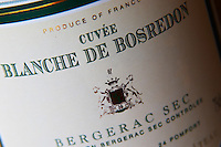 Cuvee Blanche de Bosredon, Bergerac Sec, dry white wine. Detail of label. Chateau Belingard Bergerac Dordogne France
