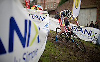 Sanne Cant (BEL/BKCP-Powerplus) slipping (and crashing)<br /> <br /> Druivencross Overijse 2014