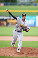 Mesa Solar Sox pitcher Aaron Kurcz (74) delivers a pitch during an Arizona Fall League game against the Peoria Javelinas on October 21, 2015 at Peoria Stadium in Peoria, Arizona.  Peoria defeated Mesa 5-3.  (Mike Janes/Four Seam Images)