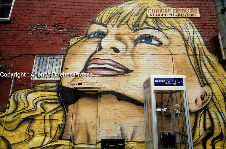 Montreal (Qc) CANADA - 1997 File Photo - Mural on Avenue des Pins and Saint-Laurent