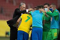 4th June 2021; Beira-Rio Stadium, Porto Alegre, Brazil; Qatar 2022 qualifiers; Brazil versus Ecuador; Richarlison of Brazil celebrates his goal in the 65th minute for 1-0 with his manager Tite