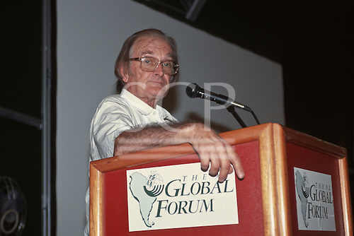 United Nations Conference on Environment and Development, Rio de Janeiro, Brazil, 3rd to 14th June 1992. Brazilian Ex-Environment Minister Professor Jose Lutzenberger, 1926-2002, at the Global Forum.