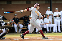 Left fielder Tyler Asbill (40) of the Winthrop University Eagles bats in a game against the University of South Carolina Upstate Spartans on Wednesday, March 4, 2015, at Cleveland S. Harley Park in Spartanburg, South Carolina. Upstate won, 12-3. (Tom Priddy/Four Seam Images)