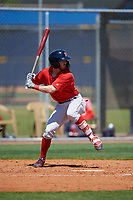 Boston Red Sox Dylan Hardy (39) bats during a Minor League Spring Training game against the Tampa Bay Rays on March 25, 2019 at the Charlotte County Sports Complex in Port Charlotte, Florida.  (Mike Janes/Four Seam Images)
