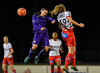 Stefania Vatafu (10) of Anderlecht pictured in a fight for the ball with Lotte De Wilde (19) of Zulte-Waregem during a female soccer game between RSC Anderlecht Dames and SV Zulte Waregem on the 10 th matchday of the 2020 - 2021 season of Belgian Womens Super League , friday 18 th of December 2020  in Tubize , Belgium . PHOTO SPORTPIX.BE | SPP | DAVID CATRY