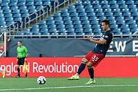 FOXBOROUGH, MA - JULY 9: Colin Verfurth #35 of New England Revolution II passes the ball during a game between Toronto FC II and New England Revolution II at Gillette Stadium on July 9, 2021 in Foxborough, Massachusetts.