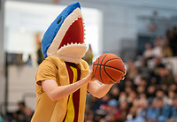 WASHINGTON, DC - FEBRUARY 8: Shark fan tries a shot at half time promotion during a game between Rhode Island and George Washington at Charles E Smith Center on February 8, 2020 in Washington, DC.