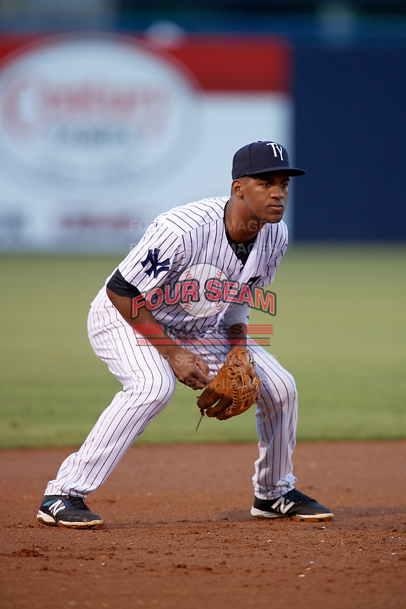 Tampa Yankees third baseman Abiatal Avelino (22) during a game against the Fort Myers Miracle on April 12, 2017 at George M. Steinbrenner Field in Tampa, Florida.  Tampa defeated Fort Myers 3-2.  (Mike Janes/Four Seam Images)