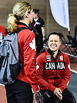 MONTREAL, QC - APRIL 29:  Cindy Ouellet speaks with a committee member during the 2017 Montreal Paralympian Search at Complexe sportif Claude-Robillard. Photo: Minas Panagiotakis/Canadian Paralympic Committee