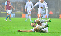 Pictured: Friday 26 December 2014<br /> Re: Premier League, Swansea City FC v Aston Villa at the Liberty Stadium, Swansea, south Wales, UK.<br /> <br /> Swansea's Neil Taylor