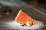 May 8, 2015. Chapel Hill, North Carolina.<br />  The Watermelon at [ONE] Restaurant includes chiffon, tarragon and coconut.<br />  [ONE] Restaurant, located in Chapel Hill's Meadowmont development, specializes in contemporary cuisine, with an emphasis on flavor pairings and unique ingredients. <br />  Outsiders tend to lump Chapel Hill with nearby Durham, but the more sensible pairing is with Carrboro, the adjacent town that was once a mere offshoot known as West End. Even today the transition from Chapel Hill, anchored by North Carolina''s flagship public university, into downtown Carrboro is virtually seamless.