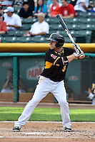 J.B. Shuck (3) of the Salt Lake Bees at bat against the Albuquerque Isotopes at Smith's Ballpark on May 21, 2014 in Salt Lake City, Utah.  (Stephen Smith/Four Seam Images)
