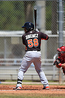 Miami Marlins Joel Jimenez (58) during a minor league spring training game against the St. Louis Cardinals on March 31, 2015 at the Roger Dean Complex in Jupiter, Florida.  (Mike Janes/Four Seam Images)