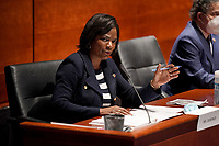 United States Representative Val Demings (Democrat of Florida) asks questions during a House Judiciary Committee hearing to discuss police brutality and racial profiling on Wednesday, June 10, 2020.<br /> Credit: Greg Nash / Pool via CNP/AdMedia