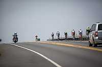 A pack of elite men on the Queek K on the bike portion of the 2013 Ironman World Championship in Kailua-Kona, Hawaii on October 12, 2013.