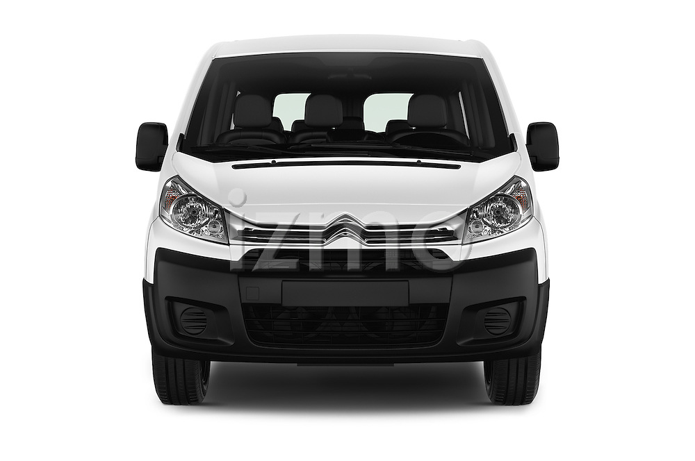Car photography straight front view of a 2015 Citroen JUMPY-MULTISPACE Attraction-l2h1 5 Door Combi Front View