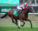 Takeover Target (no. 5) ridden by Jose Ortiz and trained by Chad Brown, wins the grade 3 Hill Prince for older horses on October 3, 2015 at Belmont Park in Elmont (Sophie Shore/Eclipse Sportswire)