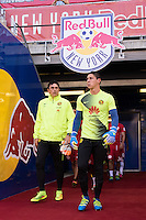 Harrison, NJ - Wednesday July 06, 2016: Gabriel Farfan Infante, Hugo Gonzalez during a friendly match between the New York Red Bulls and Club America at Red Bull Arena.
