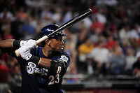 Jun. 30, 2008; Phoenix, AZ, USA; Milwaukee Brewers second baseman Rickie Weeks against the Arizona Diamondbacks at Chase Field. Mandatory Credit: Mark J. Rebilas-US PRESSWIRE