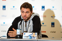 Stan Wawrinka is interviewed during a media day at the Barclays ATP World Tour Finals at The O2 centre, North Greenwich, London.