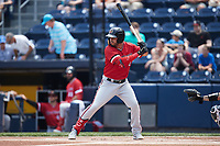Luis García (2) of the Rochester Red Wings at bat against the Scranton/Wilkes-Barre RailRiders at PNC Field on July 25, 2021 in Moosic, Pennsylvania. (Brian Westerholt/Four Seam Images)