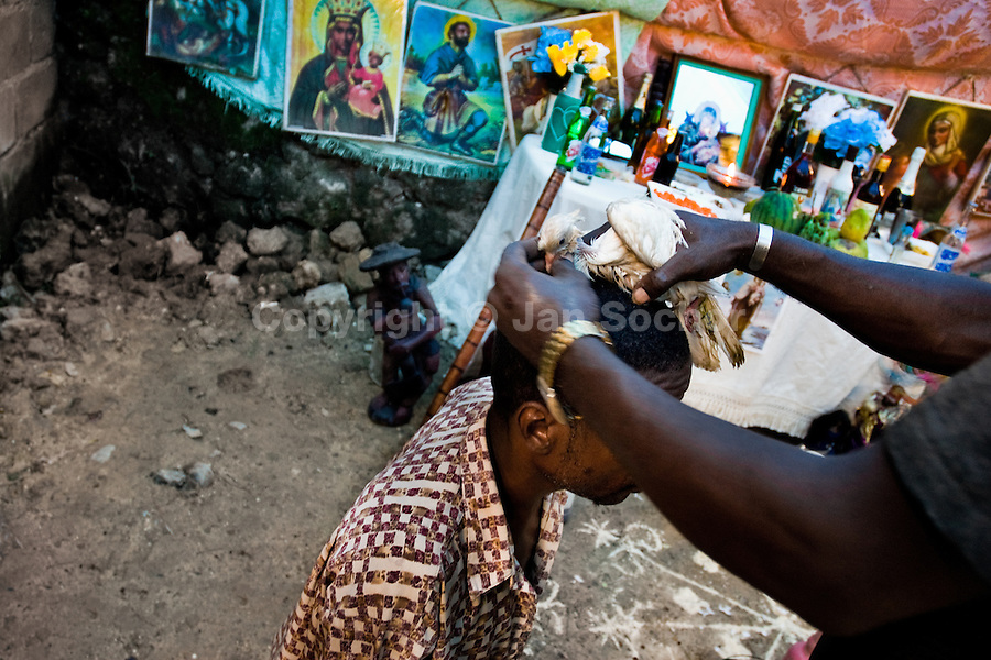 A Haitian priest puts a sacrified pigeon on a man's head during the Voodoo ceremony in Saut d'Eau, Haiti, July 16, 2008. Every year in summer thousands of pilgrims from all over Haiti make the religious journey to the Saut d'Eau waterfall (100km north of Port-au-Prince). It is believed that 150 years ago the spirit of Virgin Mary (Our Lady of Mount Carmel) has appeared on a palm tree close to the waterfall. This place became a main pilgrimage site in Haiti since then. Haitians wearing only underwear perform a bathing and cleaning ritual under the 100-foot-high waterfall. Voodoo followers (many Haitians practise both voodoo and catholicism) hope that Erzulie Dantor, the Voodoo spirit of water, manifest itself and they get possessed for a short moment, touched by her presence.