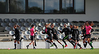 Aalst players pictured warming up before a female soccer game between Oud Heverlee Leuven and Eendracht Aalst Ladies  on the third matchday of the 2020 - 2021 season of Belgian Womens Super League , Sunday 4 th of October 2020  in Heverlee , Belgium . PHOTO SPORTPIX.BE | SPP | SEVIL OKTEM