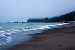 Rialto Beach, near the village of La Push, offers experiences from kayaking the Dickey River to visiting the spectacular Quileutte village.  Rialto bech is a favorite of hikers for nearby coastal camping.  Olympic Penninsula, Washington.  Outdoor Adventure. Olympic Peninsula